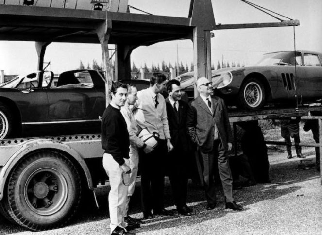 Enzo Ferrari with Scarfiotti, Parkes, Surtees and Vaccarella at the Modena airfield during a practice session.jpg